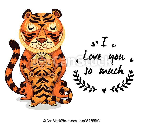 Mignon Amour Texte Tigres Illustration Beaucoup Ainsi Vous
