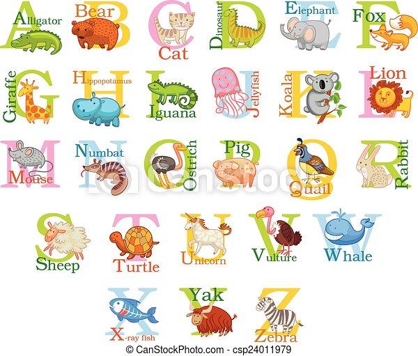 mignon, animal, alphabet - csp24011979
