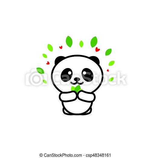 Mignon Animal Chinois Conception Couleur Panda Simple Noir Nouveau Logo Image Image Signe Ours Nounours Soutenir Bébé Ligne