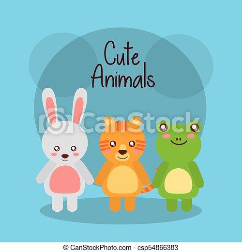mignon, animaux, grenouille, tigre, lapin, bébé, amical - csp54866383