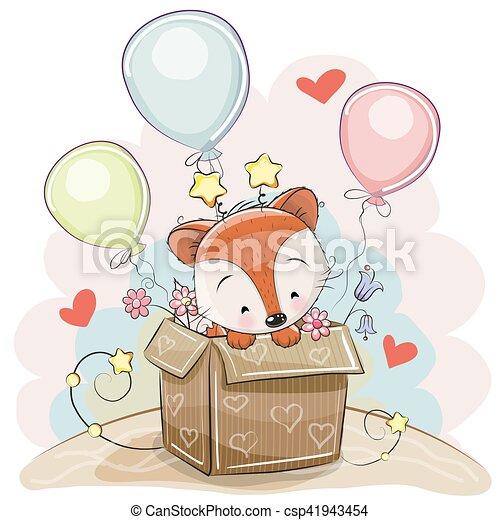 Mignon Anniversaire Renard Carte Mignon Renard Ballons Carte