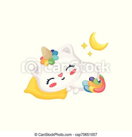 Mignon Arc En Ciel Licorne Rigolote Prendre Sous Corne Queue Lune Dormir Petit Somme étoiles Chaton Dessin Animé Chat Oreiller