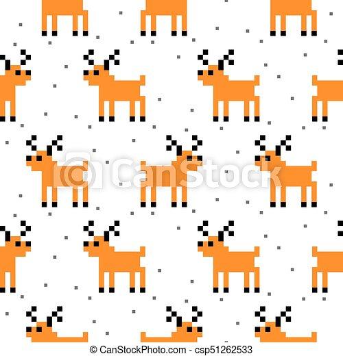 Mignon Art Pattern Cerf Seamless Dessin Animé Pixel