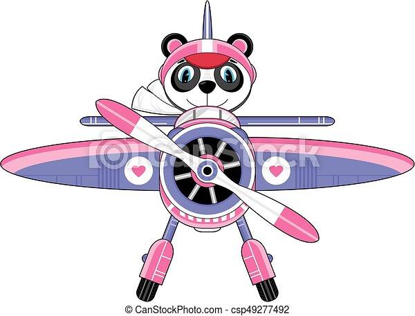 Mignon avion panda pilote mignon style ours dessin - Dessin avion stylise ...