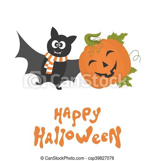 Mignon Bat Halloween Heureux Dessin Animé Carte Citrouille