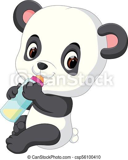 Mignon Bouteille Lait Tenant Bebe Panda Mignon Bouteille