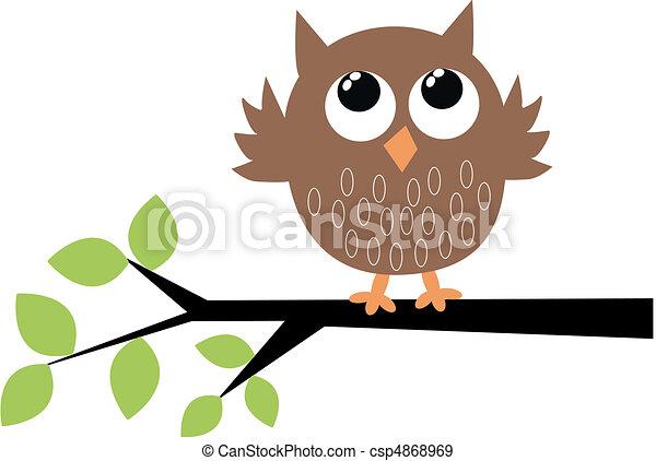 mignon, brun, hibou - csp4868969