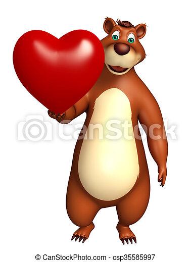 mignon caractre dessin anim ours coeur csp35585997 - Ours Coeur