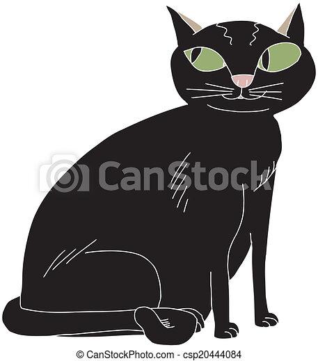 Mignon Chat Noir Mignon Yeux Chat Noir Vert Dessin Vecteur
