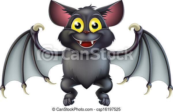 mignon, chauve-souris, halloween, dessin animé - csp16197525