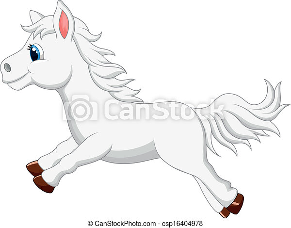 Mignon cheval poney dessin anim blanc runni mignon cheval poney illustration courant - Dessin anime avec des poneys ...
