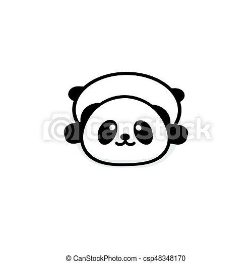 Mignon Chinois Couleur Repos Bas Conception Panda Simple Noir Nouveau Logo Image Image Signe Ours Corpulent Nounours Soutenir Bébé