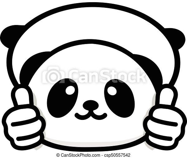 mignon, chinois, main, consentement, résumé, adoption., pouces, logo, sien, rigolote, peu, image, panda, noir, blanc, logo., symbole, projection, ours, approbation, ok, haut, vecteur, geste - csp50557542
