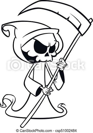 Squelette Dessin Halloween.Mignon Coloration Art Squelette Halloween Caractère Isolé Reaper Livre Faux Mort White Outlines Ligne Sinistre Dessin Animé