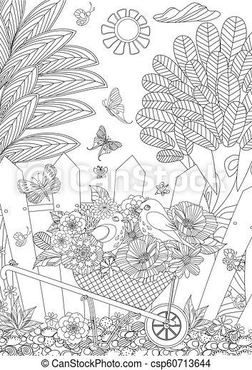 mignon, coloration, bo, oiseaux, rustique, fleurs, ton, paysage - csp60713644