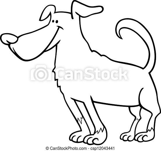 mignon, coloration, chien, livre, dessin animé - csp12043441