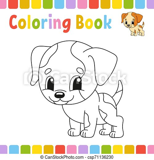 mignon, coloration, illustration., pages, livre, vecteur, dessin animé, kids. - csp71136230