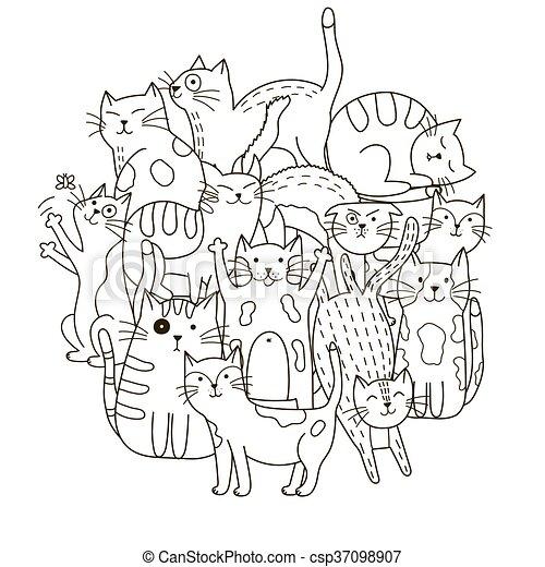 mignon, coloration, modèle, forme, chats, cercle, livre - csp37098907