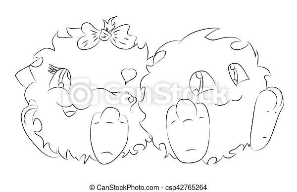 mignon, coloration, monstre, deux, livre, dessin animé - csp42765264