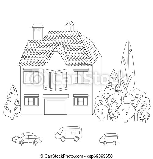 mignon, coloration, ton, livre, maison - csp69893658