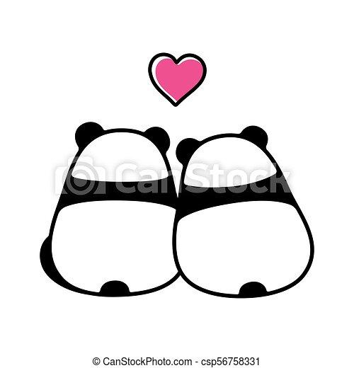 Mignon Couple Amour Panda
