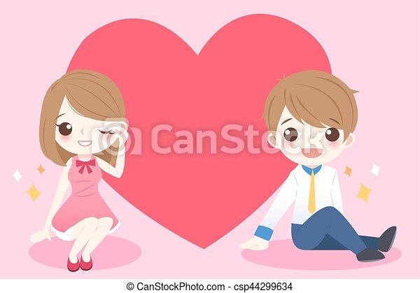 Mignon Couple Dessin Anime Coeur Mignon Coeur Heureusement