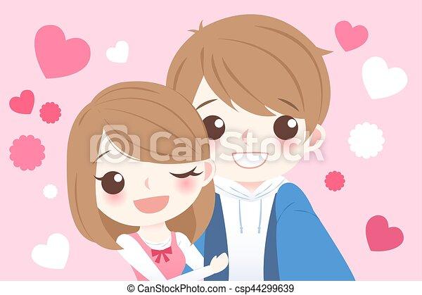 Mignon Couple Selfie Dessin Anime Mignon Heureusement Couple
