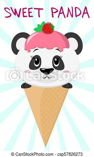 Mignon Crème Image Glace Style Panda Dessin Animé