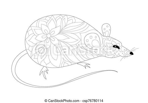 mignon, décoratif, coloration, page, ton, rat - csp76780114