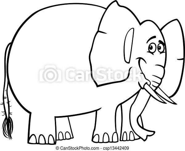 mignon, dessin animé, livre coloration, éléphant - csp13442409