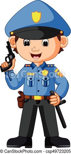 mignon, dessin animé, policier - csp49723205