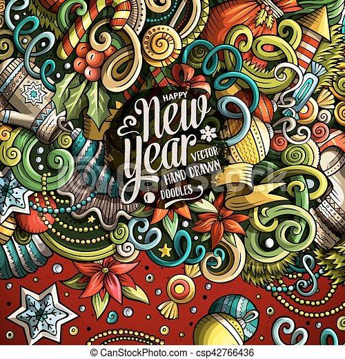 mignon, doodles, cadre, année, nouveau, dessin animé, heureux - csp42766436