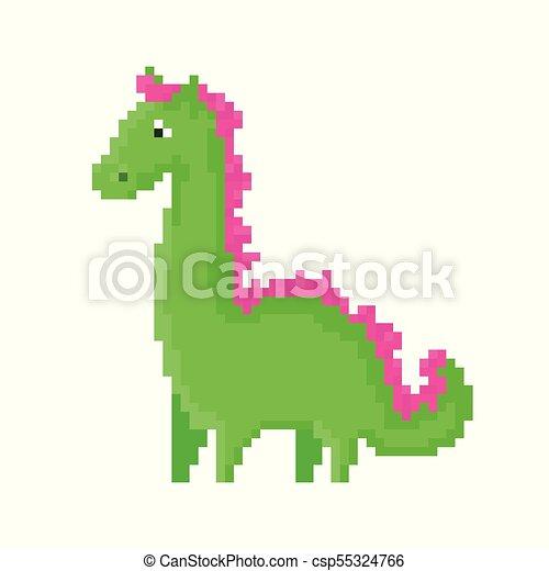 Mignon Dragon Vert Dessin Animé Pixel
