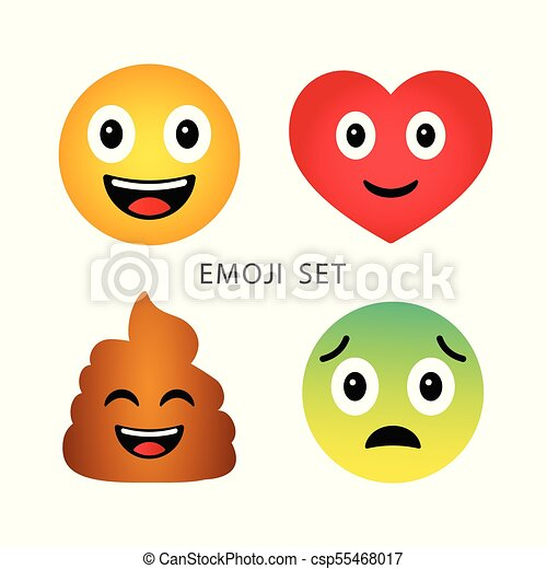 Mignon Emoticons Coeur Rigolote Set Triste Emoji émotif Poupe Dessin Animé Heureux