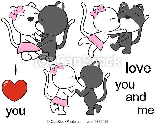 Dessin Amoureux Mignon mignon, ensemble, amour, chat, agréable, dessin animé. mignon