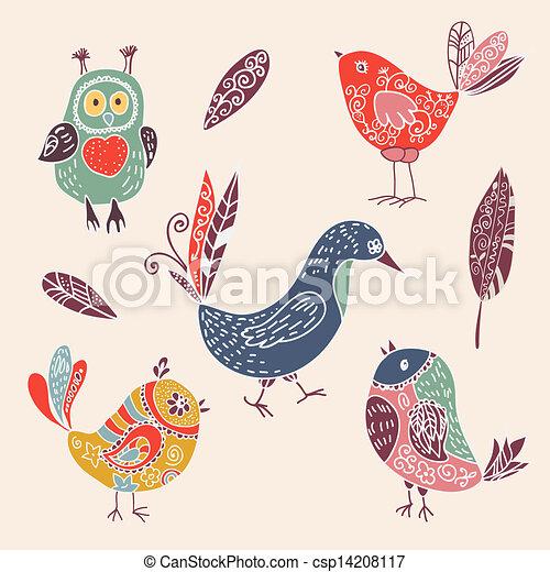 Mignon Ensemble Couleur Griffonnage Oiseaux Vendange Dessin