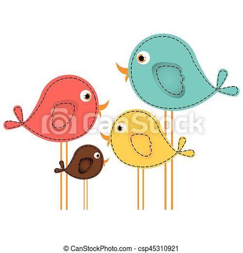 Mignon ensemble dessin anim color oiseaux mignon - Dessin colore ...