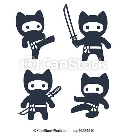 Mignon Ensemble Dessin Animé Ninja Chat