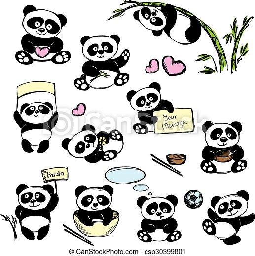 Mignon Ensemble Main Poses Divers Panda Dessin