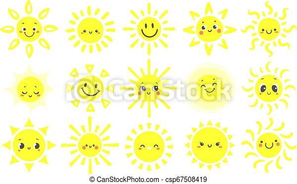 mignon, ensemble, type caractère drôle, soleils, chaud, lumière soleil, main, clair, vecteur, sun., illustration, soleil, dessiné, sourire, briller, jour, dessin animé, heureux - csp67508419