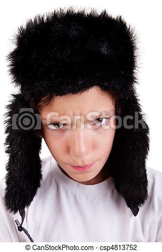 mignon, fâché, garçon, prise vue., isolé, casquette, fond, studio, blanc - csp4813752
