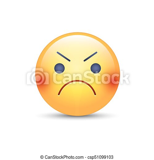Mignon Fâché Smiley Ennuyé Vecteur Face Emoji Dessin Animé Emoticon