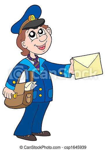 Mignon facteur lettre mignon illustration isol lettre facteur - Facteur dessin ...