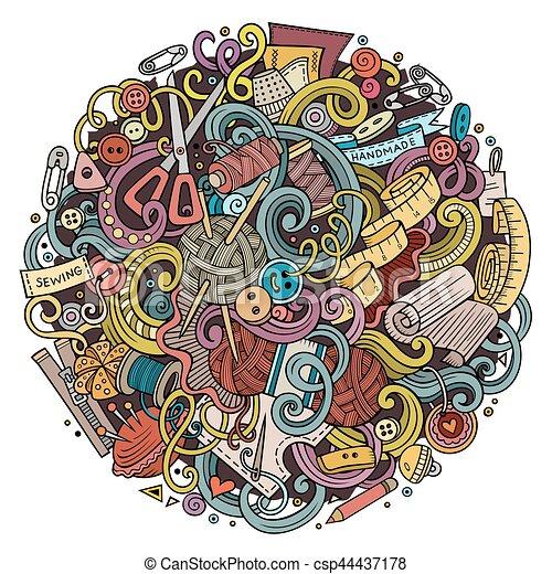 mignon, fait main, illustration, main, doodles, dessiné, dessin animé - csp44437178