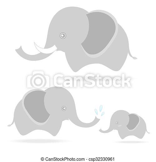 mignon, famille, dessin, éléphant, thaïlande, dessin animé - csp32330961