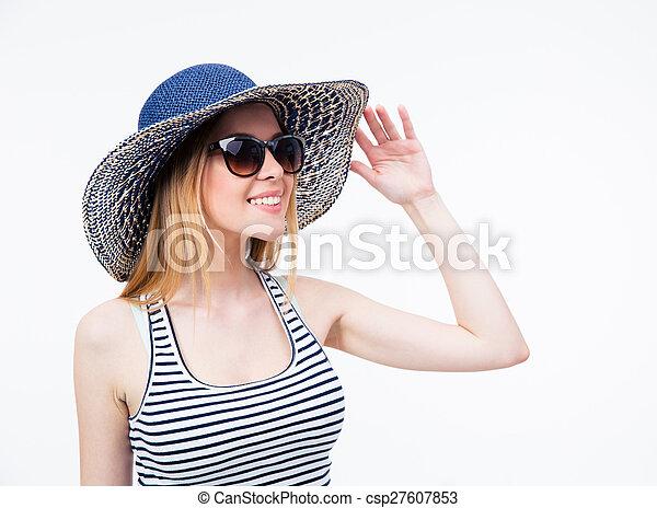 Femme Femme Femme Mignon Femme Heureux Soleil Soleil Soleil Lunettes  Chapeau CZHqwdZpx cb475c91df6a