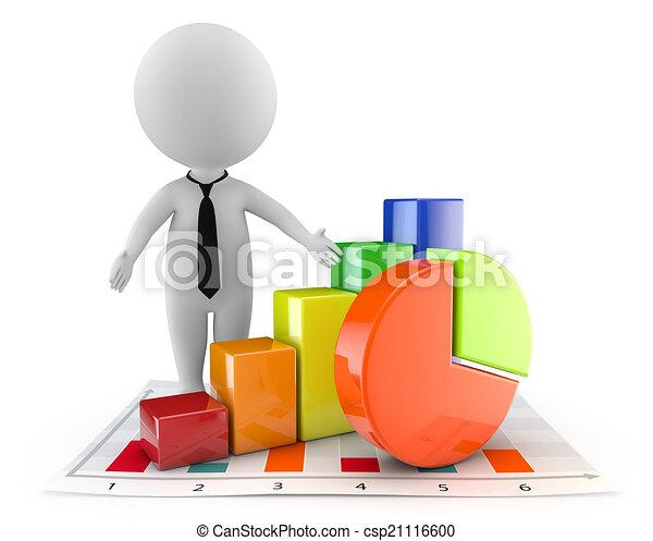 mignon, financier, gens, graphique, -, document, 3d - csp21116600