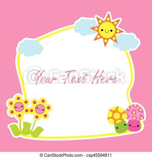 Mignon Fleur Champignon Printemps Dessin Animé Carte