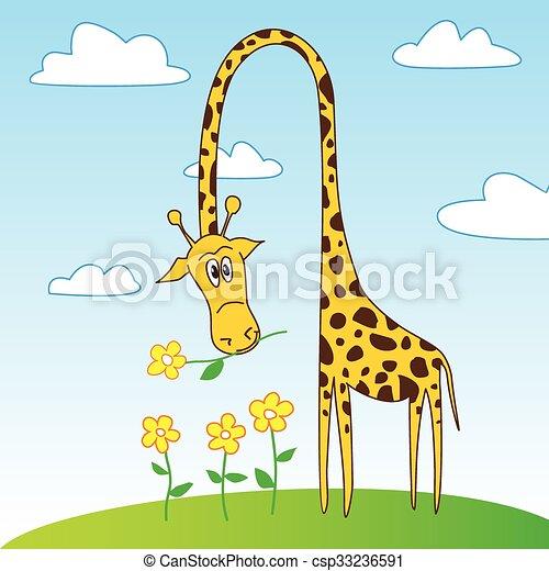 Dessin Girafe Rigolote mignon, fleur, rigolote, caractère, girafe, dessin animé. rigolote
