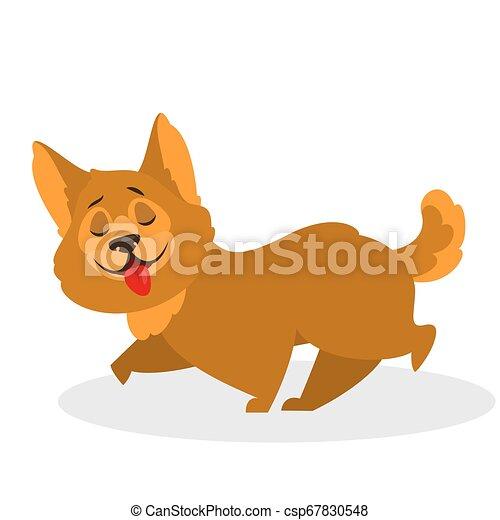 mignon, fourrure, brun, rigolote, marche., caractère, chien, chiot - csp67830548